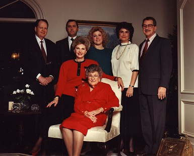 Johnelle Hunt and her mother, Ollie Jane DeBusk, with (standing, from left) her husband, J. B. Hunt, and her brothers and sisters-in-law: Dennis and Jolene DeBusk and Wanda and David DeBusk; ca. early 1990s © Pryor Center for Arkansas Oral and Visual History, University of Arkansas