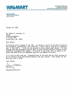 Letter to Walter E. Hussman Jr. from Sam Walton, January 15, 1990 © Pryor Center for Arkansas Oral and Visual History, University of Arkansas
