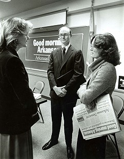 Carolyn Long (left) of KARK-TV, Walter E. Hussman Jr., and his wife, Ben Hussman, at the announcement of the morning edition of the <i>Arkansas Democrat</i>, January 1979 &copy; <i>Arkansas Democrat-Gazette</i> file photo