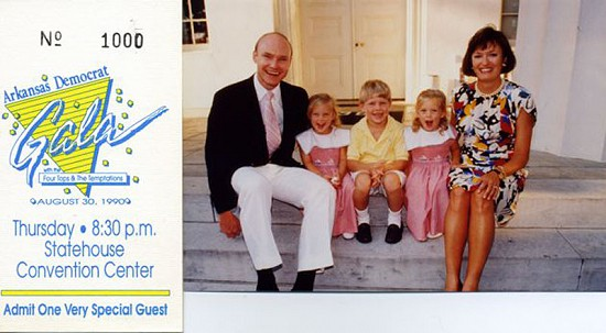 Ticket to the 1990 <i>Arkansas Democrat</i> Gala with picture of Walter and Ben Hussman and their son, Palmer Hussman, and twin daughters, Olivia and Eliza Hussman &copy; Pryor Center for Arkansas Oral and Visual History, University of Arkansas