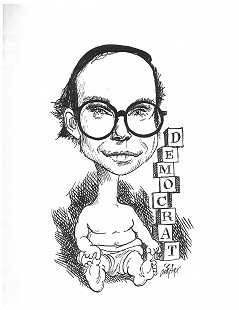Walter E. Hussman Jr. caricature by George Fisher © Pryor Center for Arkansas Oral and Visual History, University of Arkansas