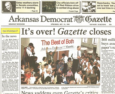 Front page headline of <i>Arkansas Democrat-Gazette</i> announcing <i>Arkansas Gazette</i> closing, October 19, 1991 &copy; Public Domain