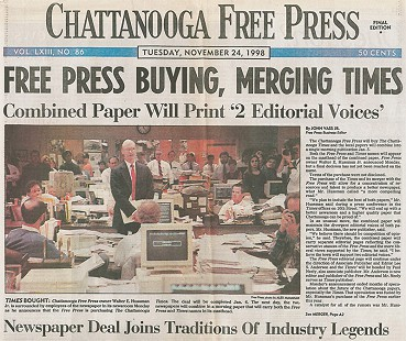 <i>Chattanooga Free Press</i> headline announcing purchase of the <i>Chattanooga Times</i>, November 24, 1998 © Public Domain