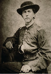 Chester Johnson's great-grandfather, Samuel Decatur Hanna, who fought for the North in the Civil War, pictured here in his uniform; Hanna died at age 90 on November 16, 1924, in Caddo Gap, Arkansas     © Pryor Center for Arkansas Oral and Visual History, University of Arkansas