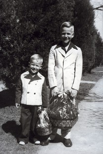 Chester Johnson (left) and his brother, John Maxie Johnson, posing with their Easter baskets; Little Rock, Arkansas, ca. 1948  © Pryor Center for Arkansas Oral and Visual History, University of Arkansas
