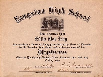 Langston High School Diploma of Edith Irby Jones © Pryor Center for Arkansas Oral and Visual History, University of Arkansas
