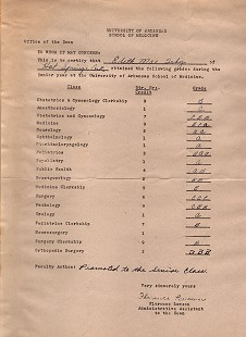 Edith Irby Jones's grades during her senior year at the University of Arkansas School of Medicine © Pryor Center for Arkansas Oral and Visual History, University of Arkansas