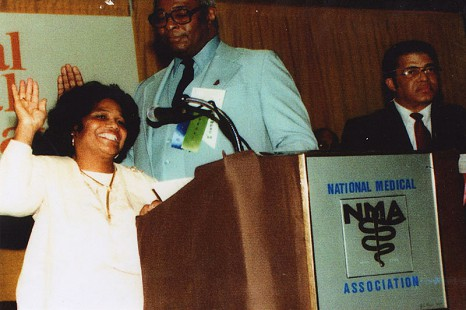 Edith Irby Jones during her induction as president of the National Medical Association, 1985 © Pryor Center for Arkansas Oral and Visual History, University of Arkansas