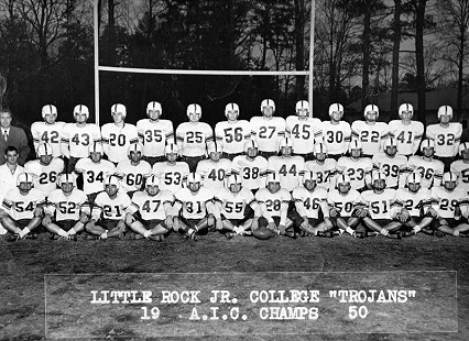 Bob Lamb, no. 38, with Little Rock Junior College Trojans; AIC Champions, 1950 © Pryor Center for Arkansas Oral and Visual History, University of Arkansas