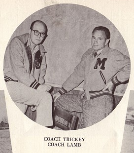 Bob Lamb (left) with Coach Trickey; Morrilton Ayer Yearbook, 1956 © Pryor Center for Arkansas Oral and Visual History, University of Arkansas