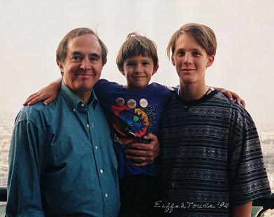 David Lambert with his sons, Taylor (age 7) and Walker (age 16), at the Eiffel Tower in Paris; 1994 © Pryor Center for Arkansas Oral and Visual History, University of Arkansas