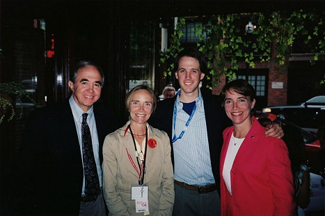 David Lambert (left) with Mary Lambert, Walker Lambert, and Blanche Lambert Lincoln at the 2004 Democratic National Convention; Boston, Massachusetts © Pryor Center for Arkansas Oral and Visual History, University of Arkansas