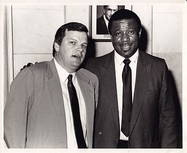 Bill Lancaster (left) and Nolan Richardson at the Arkansas Senate, 1994 © Pryor Center for Arkansas Oral and Visual History, University of Arkansas