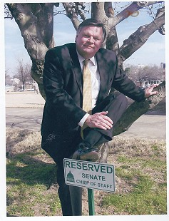 Bill Lancaster, chief of staff of the Arkansas state senate, next to his parking space; Little Rock, Arkansas © Pryor Center for Arkansas Oral and Visual History, University of Arkansas
