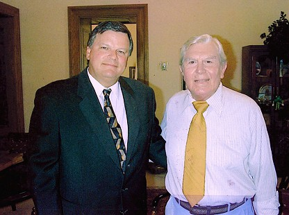 Bill Lancaster (left) and actor, Andy Griffith, 2003 © Pryor Center for Arkansas Oral and Visual History, University of Arkansas