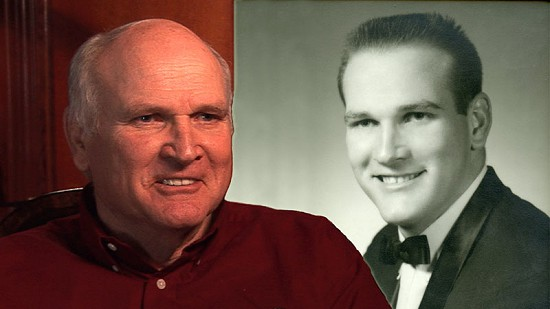 Composite image of early photo of Jim Lindsey and still frame from Pryor Center video interview © Pryor Center for Arkansas Oral and Visual History, University of Arkansas
