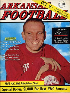 Jim Lindsey on the cover of <i>Arkansas Football</i> magazine; October 16, 1965 © Pryor Center for Arkansas Oral and Visual History, University of Arkansas