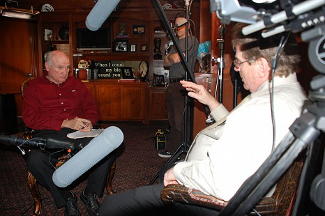 Behind-the-scenes photo from Pryor Center interview with Jim Lindsey at Lindsey & Associates; Fayetteville, Arkansas, 2009 © Pryor Center for Arkansas Oral and Visual History, University of Arkansas