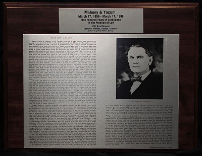 Plaque commemorating Mahony and Yocum for 100 years of excellence in the practice of law with a biography of Judge Emon Ossian Mahony © Pryor Center for Arkansas Oral and Visual History, University of Arkansas