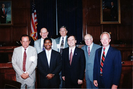 Back row: Richard Griffin, Bill Dooly; front row: Emon A. Mahony Jr., Rodney Slater, Tim Hutchinson, John Womack, Strib Boynton © Pryor Center for Arkansas Oral and Visual History, University of Arkansas
