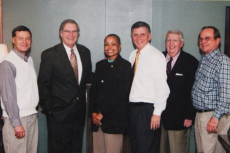 Transition team of Governor Mike Beebe: (from left) Morril Harriman, Don Nelms, Senator Joyce Elliot, Governor Mike Beebe, Ark Monroe, Emon A. Mahony Jr.; November 2006 © Pryor Center for Arkansas Oral and Visual History, University of Arkansas