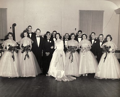 Wedding party of Tim and Dorothy Massanelli; Pine Bluff, Arkansas, February 6, 1954 © Pryor Center for Arkansas Oral and Visual History, University of Arkansas