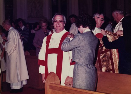 Tim Massanelli being ordained as deacon with Dorothy Massanelli © Pryor Center for Arkansas Oral and Visual History, University of Arkansas