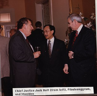 Chief Justice Jack Holt, Ambassador Pibulsonggram, and Jerry Maulden © Pryor Center for Arkansas Oral and Visual History, University of Arkansas