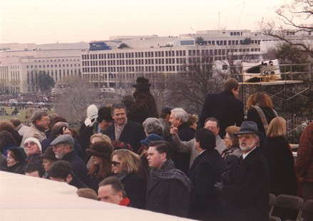 Jerry Maulden with Patrick Duffy, star of the TV series <i>Dallas</i>, at Bill Clinton's first inauguration &copy; Pryor Center for Arkansas Oral and Visual History, University of Arkansas