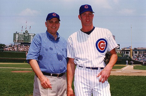 Jerry Maulden with a Chicago Cubs player © Pryor Center for Arkansas Oral and Visual History, University of Arkansas