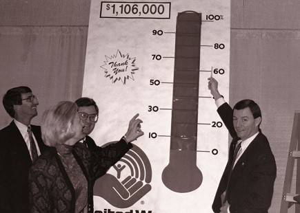 Tommy May with United Way donations chart © Pryor Center for Arkansas Oral and Visual History, University of Arkansas