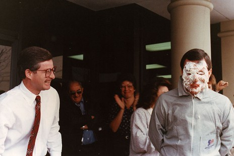 Tommy May (right) after getting a pie thrown at his face © Pryor Center for Arkansas Oral and Visual History, University of Arkansas