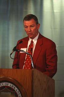 Tommy May at the podium at the University of Arkansas © Pryor Center for Arkansas Oral and Visual History, University of Arkansas