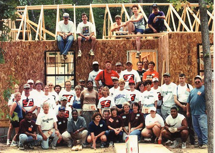 Tommy May (center, back row) with the Habitat for Humanity team © Pryor Center for Arkansas Oral and Visual History, University of Arkansas