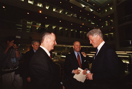 Tommy May (left, foreground) greeting Bill Clinton; (left, background) B. Alan Sugg, Mack McLarty © Pryor Center for Arkansas Oral and Visual History, University of Arkansas