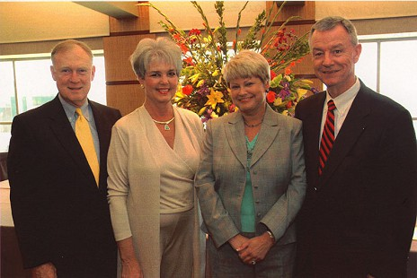 Bill and Margaret Clark with Kathryn and Tommy May at establishment of the J. Thomas May Chair in Oncology at the University of Arkanas for Medical Sciences © Pryor Center for Arkansas Oral and Visual History, University of Arkansas