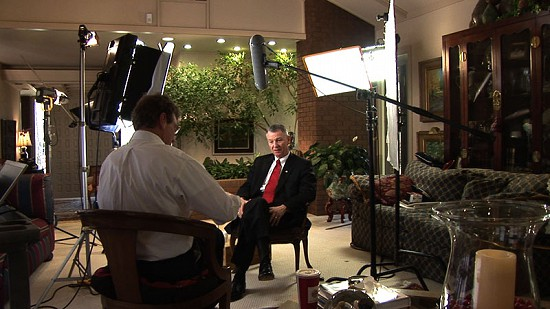 Behind-the-scenes photo from Pryor Center interview with Tommy May at Harry Ryburn's residence: Pine Bluff, Arkansas, 2007 © Pryor Center for Arkansas Oral and Visual History, University of Arkansas