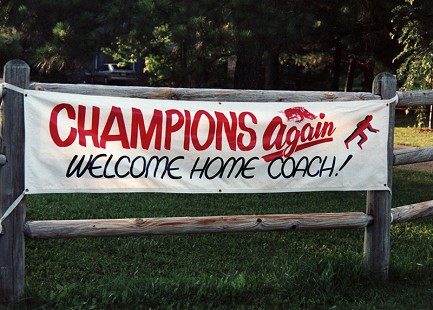 Welcome Home sign at John McDonnell's house © Pryor Center for Arkansas Oral and Visual History, University of Arkansas