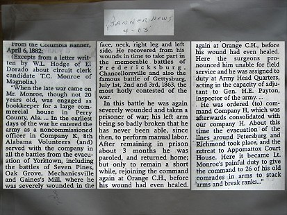 Newspaper clipping from the Columbia Banner about Thomas Cooper Monroe, grandfather of Archie Monroe, April 6, 1882 © Pryor Center for Arkansas Oral and Visual History, University of Arkansas