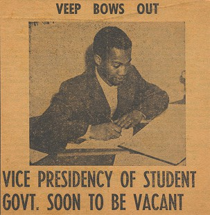 UAPB newspaper picture of Gordon Morgan when he resigned from the vice presidency of Student Government © Pryor Center for Arkansas Oral and Visual History, University of Arkansas