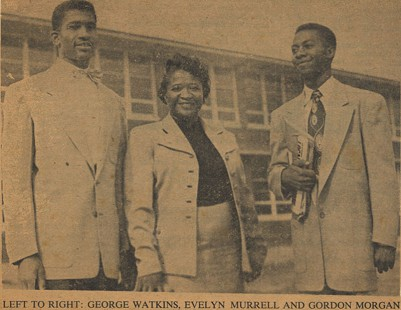 Gordon Morgan (right) with George Watkins and Evelyn Murrell in newspaper article, 1953 © Pryor Center for Arkansas Oral and Visual History, University of Arkansas