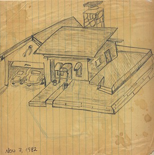Gordon Morgan's sketch of a house, 1982 © Pryor Center for Arkansas Oral and Visual History, University of Arkansas