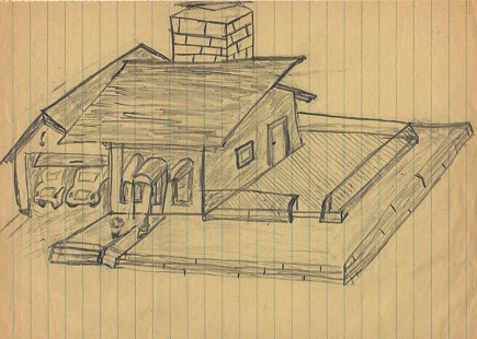 Gordon Morgan's sketch of a house © Pryor Center for Arkansas Oral and Visual History, University of Arkansas