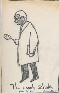 "Gordon Morgan's sketch, ""The Lonely Scholar,"" 1991 © Pryor Center for Arkansas Oral and Visual History, University of Arkansas"