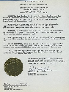 Certificate of Appreciation to Gordon Morgan from the Arkansas Board of Correction, 1992 © Pryor Center for Arkansas Oral and Visual History, University of Arkansas