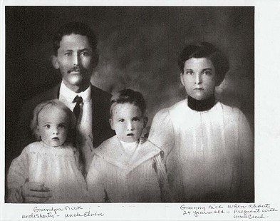 Dale Nicholson's grandparents, William Mayberry Nicholson and Cornelia Coopwood Nicholson, with their children, Shorty and Elvin © Pryor Center for Arkansas Oral and Visual History, University of Arkansas