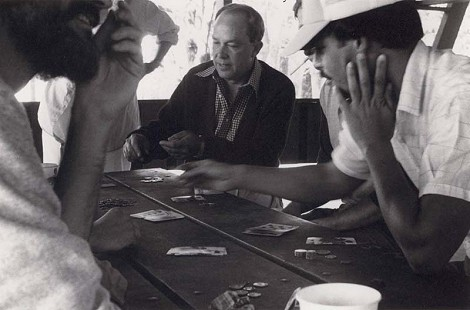 Dale Nicholson (center) playing cards at a KATV picnic © Pryor Center for Arkansas Oral and Visual History, University of Arkansas
