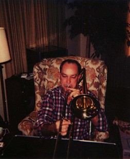 Dale Nicholson playing the trombone © Pryor Center for Arkansas Oral and Visual History, University of Arkansas