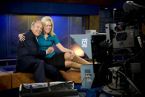Dale Nicolson with reporter, Anne Pressly, on the KATV news set © Pryor Center for Arkansas Oral and Visual History, University of Arkansas