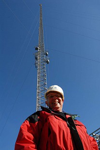 Dale Nicholson in front of KATV's new broadcast tower; Little Rock, Arkansas, 2009 © Pryor Center for Arkansas Oral and Visual History, University of Arkansas